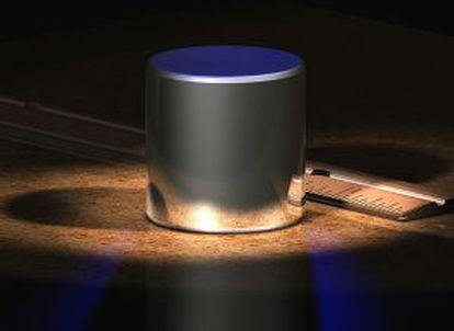 Cilindro de platino que sirve de patrón para el kilo.