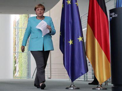 La canciller alemana, Angela Merkel, a su llegada a la cancillería en Berlín para comparecer el miércoles tras el consejo europeo.