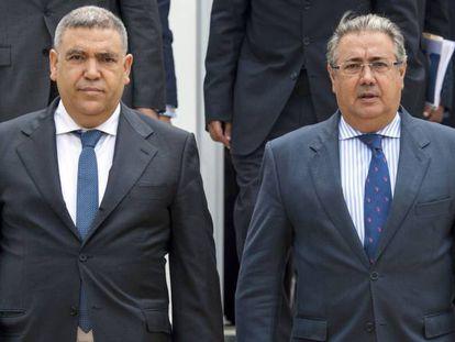 Abdelouafi Laftit y Juan Ignacio Zoido Alvarez en Rabat.