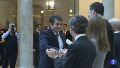 Somoano durante la recogida del Premio Nacional de Televisión.