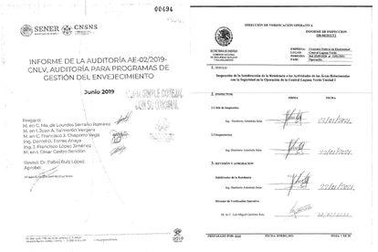 Facsímiles de una auditoría y una inspección realizadas a la central nuclear Laguna Verde por la Comisión Nacional de Seguridad Nuclear y Salvaguardas.