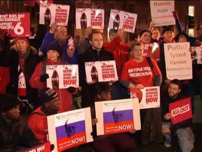 Protestas por los derechos de gais y lesbianas antes de los Juegos de Sochi