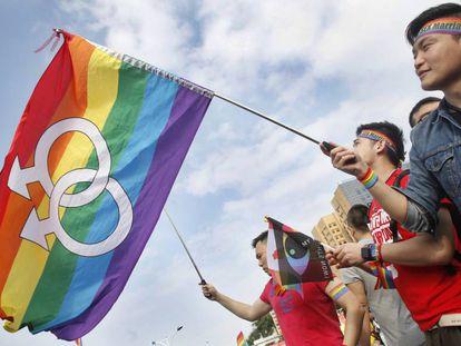 Partidarios del matrimonio gay en Taipei, en 2016.