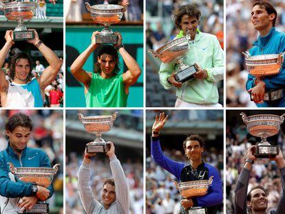 Todas las victorias de Rafa Nadal en Roland Garros, en imágenes