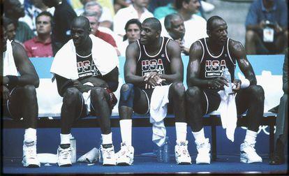 Michael Jordan, Magic Johnson y Clyde Drexler, en 1992.