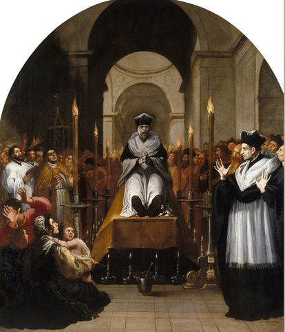 El pintor italiano inicia su serie dedicada a la vida y milagros de san Bruno con la conversión a cartujo a raíz de ver cómo se castigaba a un hombre inocente. En este lienzo se puede observar la perfección de las proporciones y el uso de colores primarios.