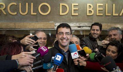 El portavoz de la gestora del PSOE, Mario Jiménez, el domingo en Madrid.