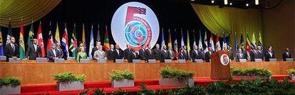 Los líderes reunidos en la V Cumbre de las Américas, en la sesión inaugural.