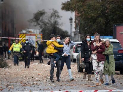 Explosión en un edificio de la calle Toledo 98, de Madrid.