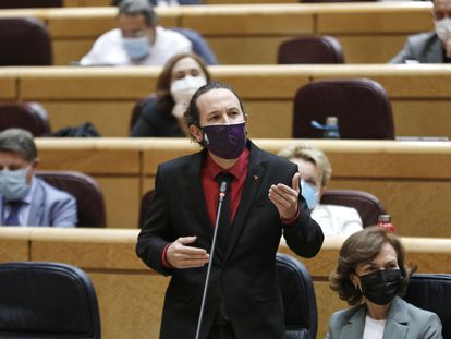 El vicepresidente segundo del Gobierno, Pablo Iglesias, en el Senado.