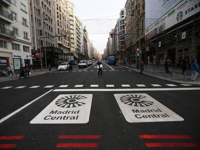 La entrada a Madrid Central desde la plaza de España.