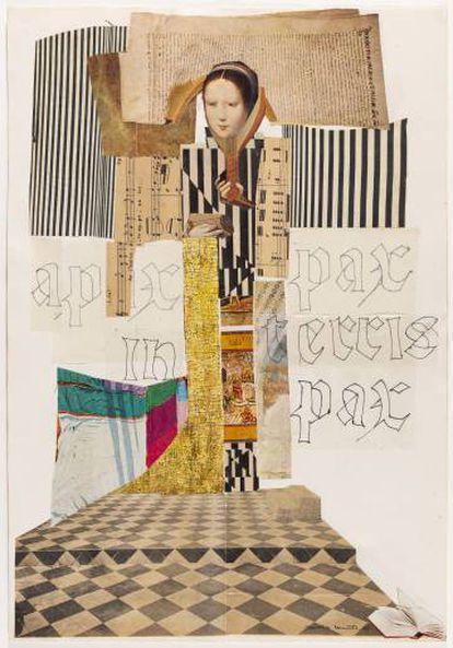 'Sin título', una de las obras en papel, a base de 'collages' de Aurèlia Muñoz.