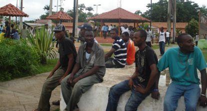 Un grupo de haitianos en Brasileia, en 2012.