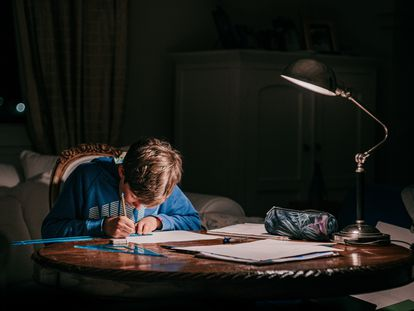 Un chaval estudia en su casa.