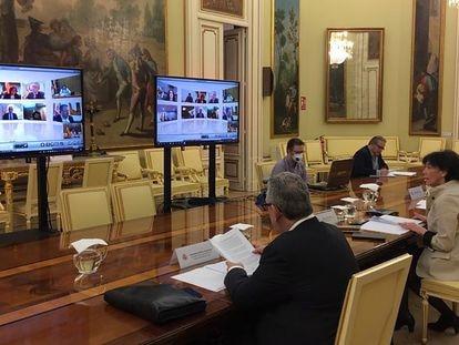 La ministra de Educación, Isabel Celaá, durante la conferencia sectorial este jueves.