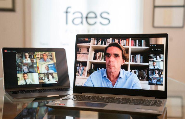 """José María Aznar, expresidente del Gobierno y presidente de la Fundación FAES, inaugura las jornadas telemáticas """"Centrados en Europa"""" organizadas por FAES, hoy en Madrid."""