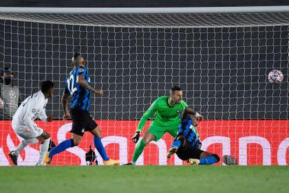 El jugador del Real Madrid Rodrygo, en la acción del 3-2 del encuentro ante el Inter.