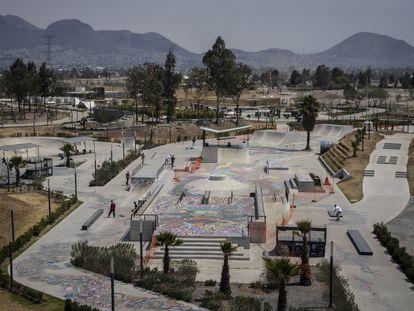 Vista aérea de la pista de 'skate' del parque Cuitláhuac, en Iztapalapa (Ciudad de México).
