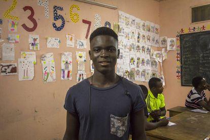 Samba Diao en una de las aulas de Maison de la Gare, en Saint Louis (Senegal).