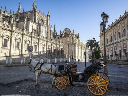 Alrededores de la catedral de Sevilla, prácticamente vacío, el pasado 10 de noviembre.