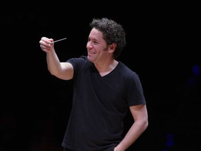 Gustavo Dudamel durante un ensayo en el Teatro Real el pasado mes de enero.
