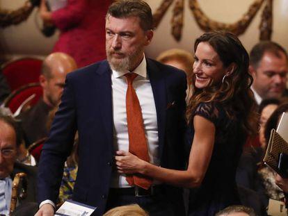 Robert Gavin y Telma Ortiz, en los premios Princesa de Asturias, el 18 de octubre.