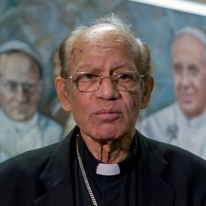 ROME, ITALY - OCTOBER 26: Cardinal Oswald Gracias, President of the Federation of Asian Bishops' Conferences (FABC), Archbishop of Bombay, during the launch of the bishops' declaration on climate justice on October 26, 2018 in Rome, Italy.The presidents of the continental episcopal conferences launch an urgent appeal to the Vatican on climate action. They affirm that since global warming should be limited to 1.5 degrees, the next United Nations climate change conference in Katowice, Poland, in December, must be a milestone in the path mapped out in 2015 in Paris (Photo by Stefano Montesi - Corbis/Getty Images)