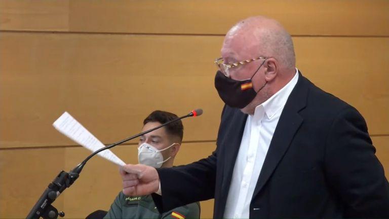 El excomisario Villarejo en su declaración ante el juez el pasado 15 de enero. Captura de vídeo de la señal institucional del tribunal.