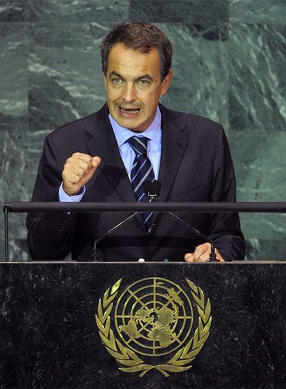 Zapatero, durante su discurso en la Asamblea de Naciones Unidas.
