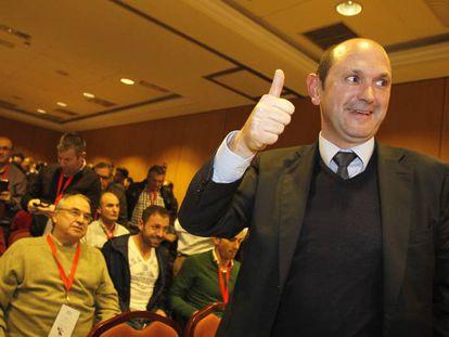 Rafael Louzán, cuando fue elegido presidente del fútbol gallego en 2014.
