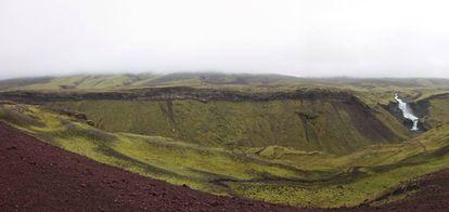 Imagen parcial de la fisura del Eldgjá de la que brotaron ingentes cantidades de lava.