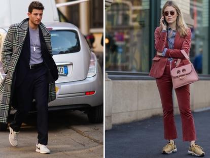 A la izquierda, un ejemplo de cómo lucir traje con zapatillas para el público masculino y, a la derecha, la influencer Annabel Rosendah en las calles de Oslo. GETTY IMAGES.