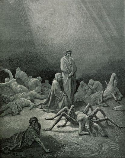 El purgatorio, visto por el ilustrador Gustavo Doré de <i>La divina comedia</i>.