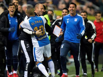 El Zhar celebra el gol del Leganés ante el Villarreal.