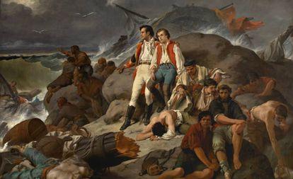 'Episodio de Trafalgar' (1862), óleo de Francisco Sans Cabot.