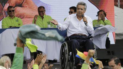 El candidato oficialista Lenín Moreno, el pasado octubre.