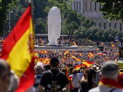 Manifestación contra los indultos del Gobierno a los líderes independentistas catalanes en la Plaza de Colón en Madrid, el pasado 18 de junio.