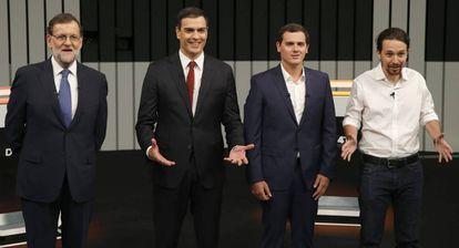 Los cuatro principales candidatos a la presidencia del Gobierno, durante su debate televisado.