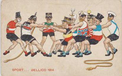 Caricatura con dirigentes de los países implicados en la Gran Guerra que puede verse en la muestra.