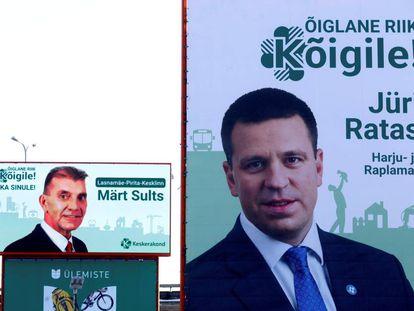 Carteles de algunos de los candidatos a primer ministro en Estonia, en Tallin el 22 de enero de 2019.