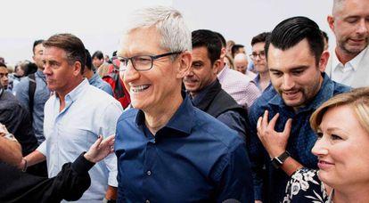 El presidente de Apple, Tim Cook, la semana pasada en California.