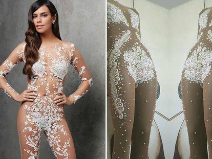 A la izquierda, Cristina Pedroche con el vestido de Pronovias, y a la derecha el modelo del diseñador Joshua Velázquez.
