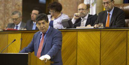 Diego Valderas en su intervención en el Parlamento.