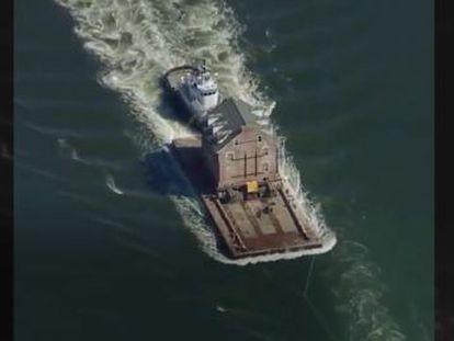 El edificio recorrió 80 kilómetros para cruzar la bahía de Chesapeake, en Estados Unidos