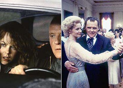 Hopkins, en el papel de Richard Nixon, a la izquierda, y, acompañado de Nicole Kidman, en <i>La mancha humana</i>.