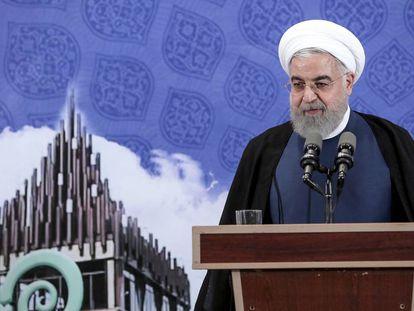 Hasan Rohani, este martes durante el anuncio en Teherán. En vídeo, declaraciones del presidente iraní.
