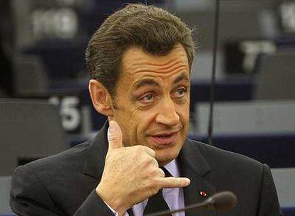Nicolas Sarkozy, durante la sesión del Parlamento Europeo en Estrasburgo.