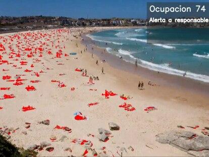 Fotograma del sistema de videovigilancia de Telefónica que marca automáticamente la ocupación de la playa.