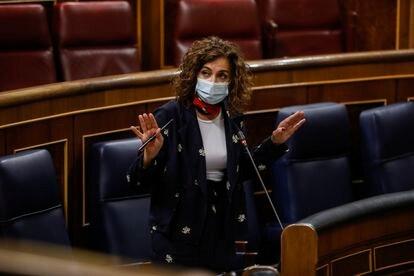 La ministra portavoz y de Hacienda, María Jesús Montero, el miércoles.