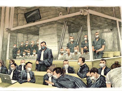 Ilustración del juicio por los atentados terroristas del 13-N en París, con los abogados de los acusados en primer plano.